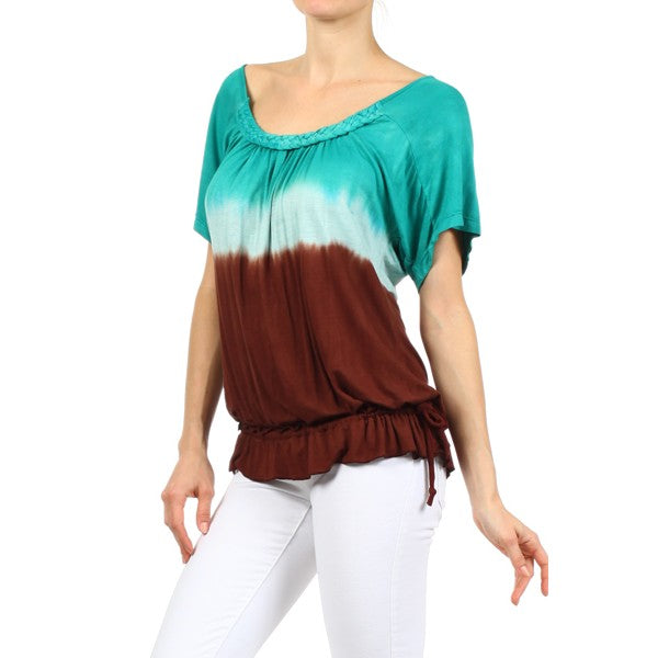 Women's Ombre Tie Dye Short Sleeve Top #10972MB Made In USA.