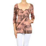 Women's Brush Stroke Effect Scoop Neck Top #11036