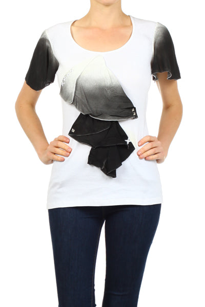 Women's Print Short Sleeve Top #11087 - IDI Clothing - Where you can buy directly for the designer manufacturer-Made In USA :)