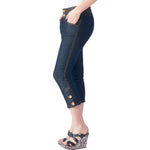 Women's Gold Stitches Capri Strech Jean Pants Indigo Blue #11103 - IDI Clothing - Where you can buy directly for the designer manufacturer-Made In USA :)