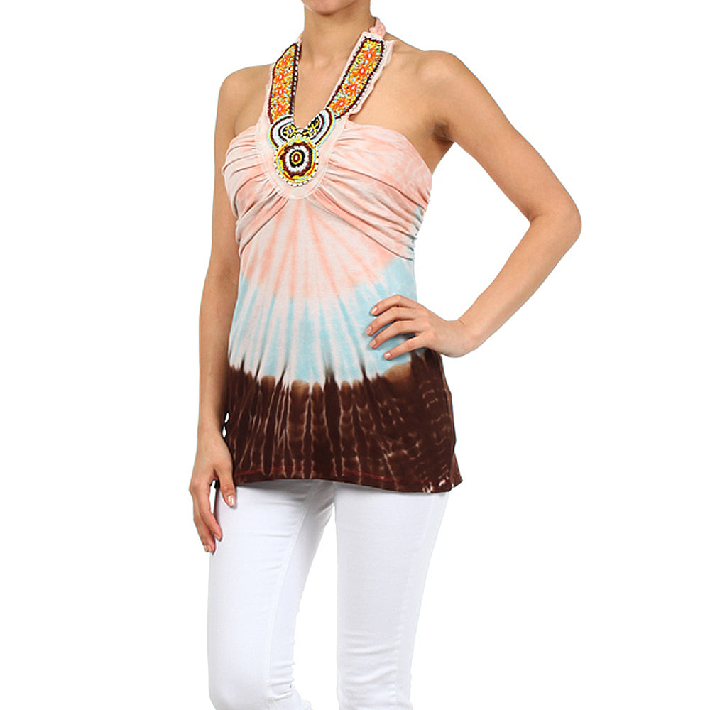 Women's Tie Dye Beaded Halter Top #11127 Made In USA - IDI Clothing - Where you can buy directly for the designer manufacturer-Made In USA :)
