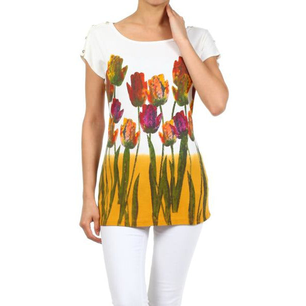 Women's Floral Printed Cotton Designer Look knit Top #11132