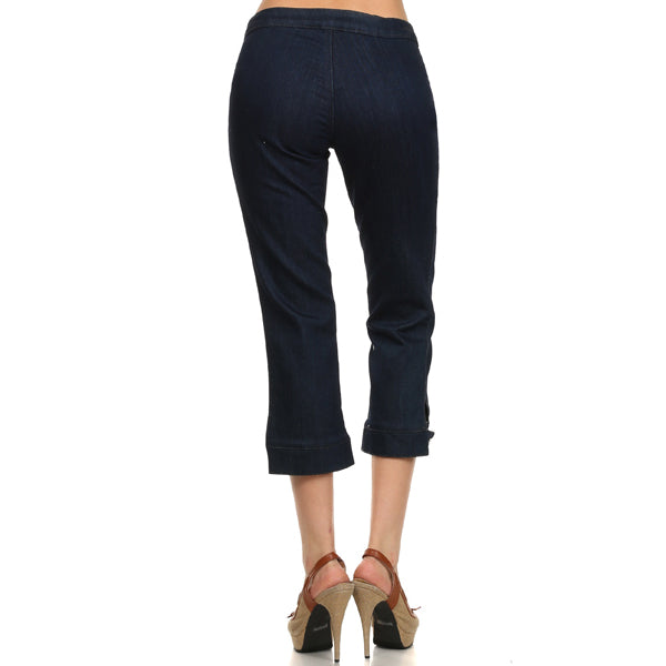 Women's Clasic Capri Stretch Jean added Cuff Button Blue jean #11138 - IDI Clothing - Where you can buy directly for the designer manufacturer-Made In USA :)