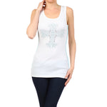 Ladies Studded Rib Tank Top White - XL / White - TOPS