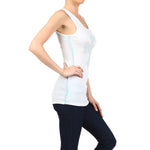 Ladies Studded Rib Tank Top White - TOPS