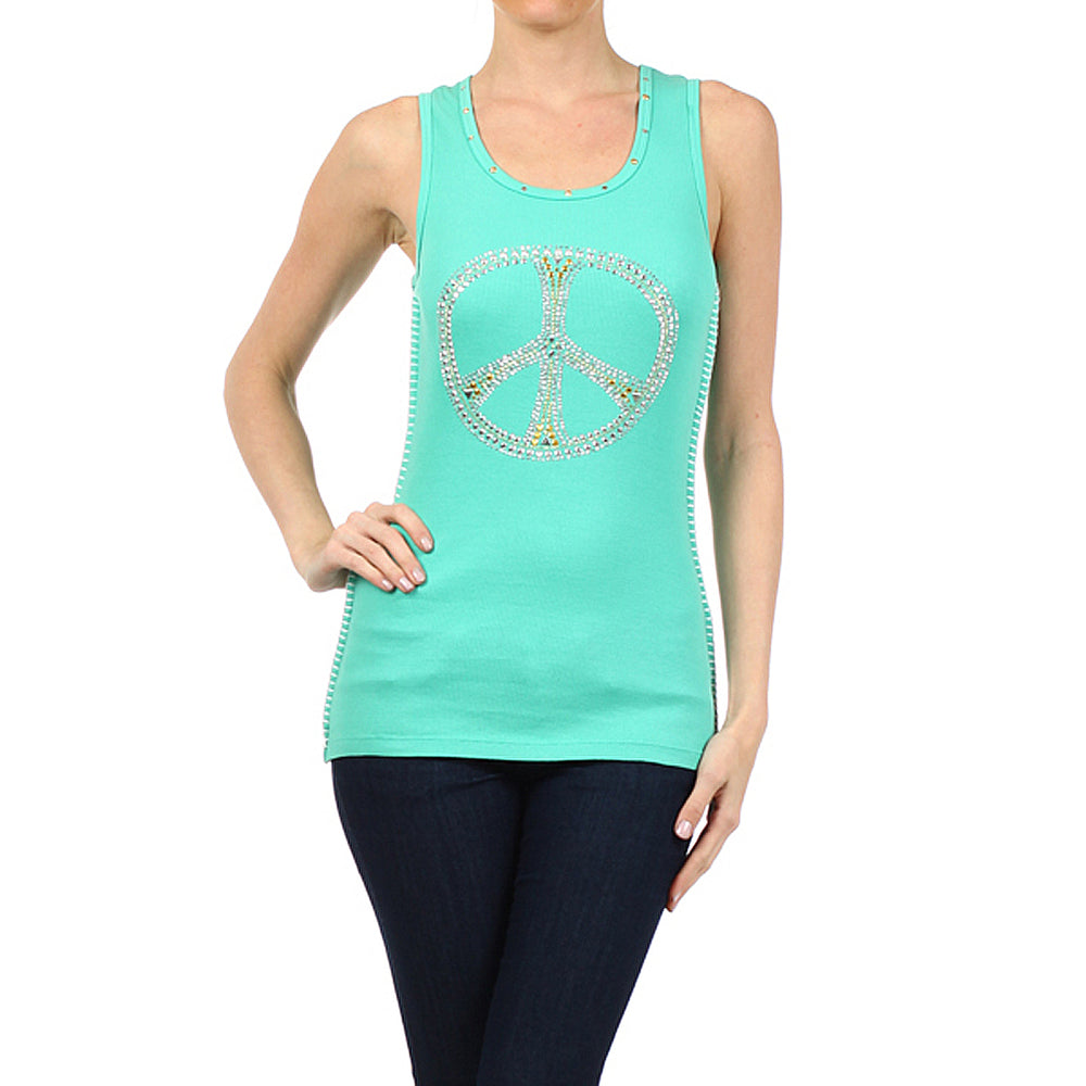Women's Studded Peace Sign Tank Top Canton Green #11140