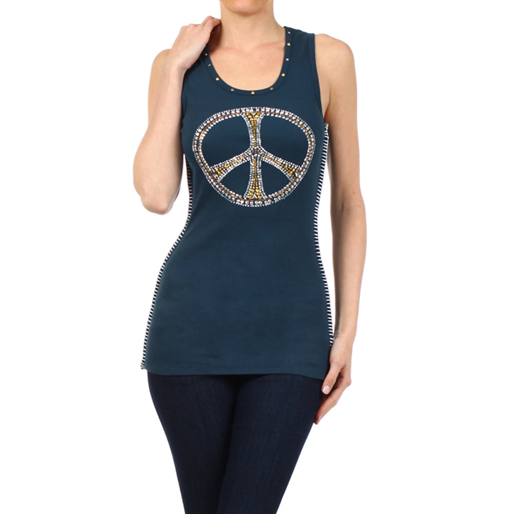 Women's Studded Peace Sign Tank Top Blue #11140