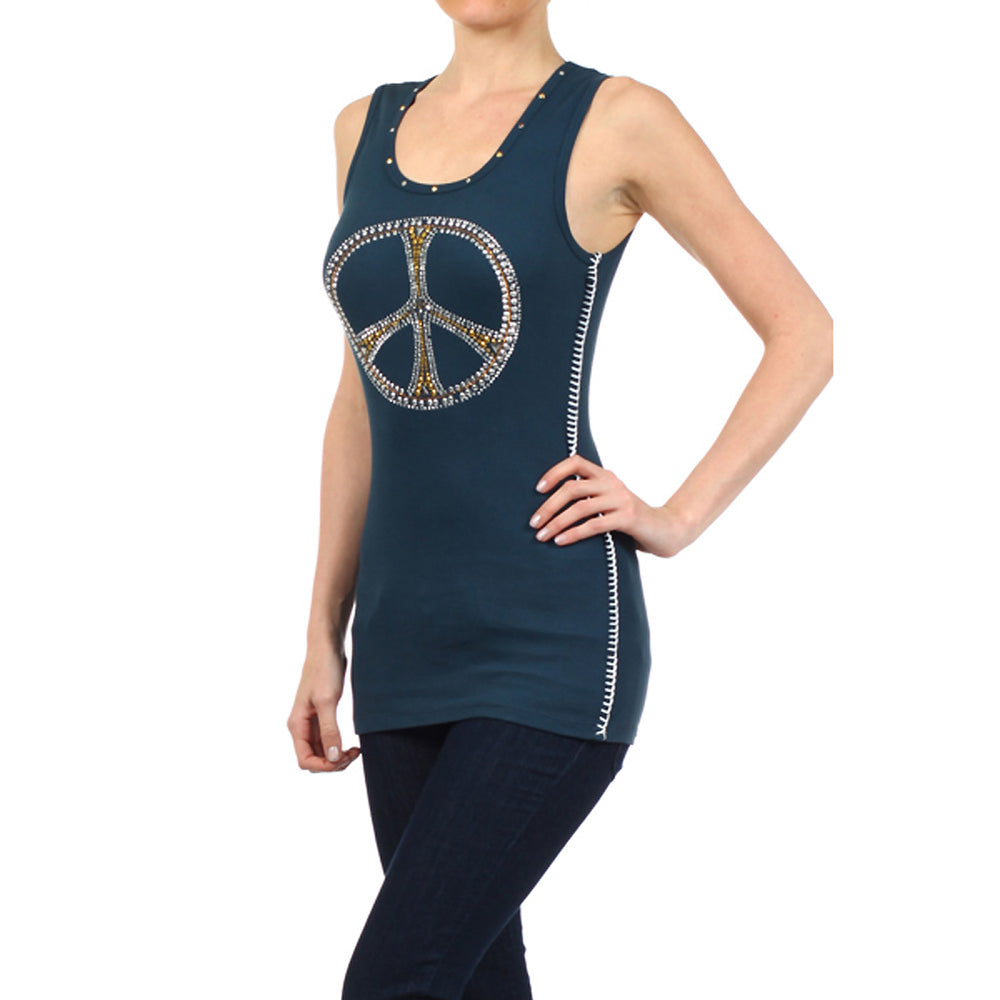 Studded Peace Sign  100% Cotton Tank Top Blue #11140 SP E Blue Made In USA - IDI Clothing - Where you can buy directly for the designer manufacturer-Made In USA :)