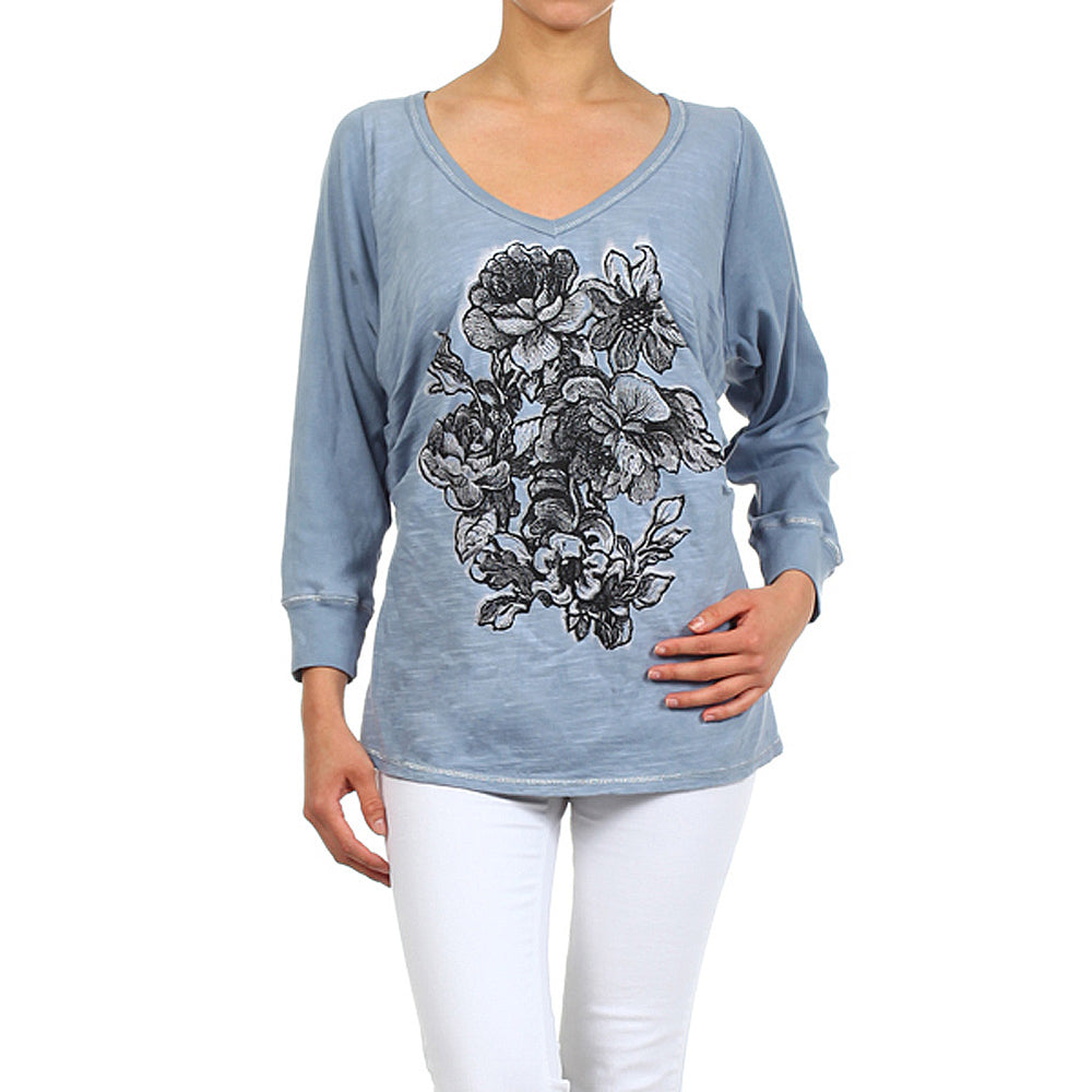 Women's Print Long Sleeve V Neck Top #11147 - IDI Clothing - Where you can buy directly for the designer manufacturer-Made In USA :)