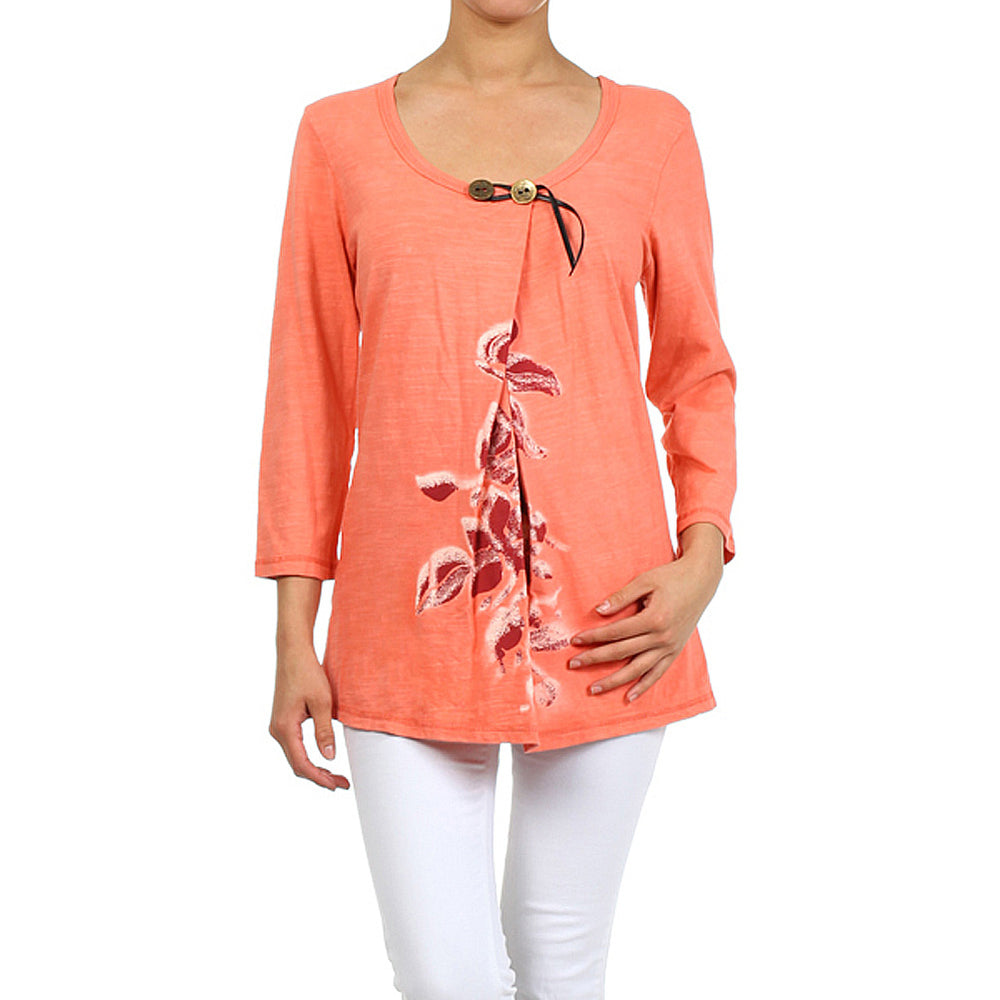 Women's Print Scoop Neck Top #11149 - IDI Clothing - Where you can buy directly for the designer manufacturer-Made In USA :)