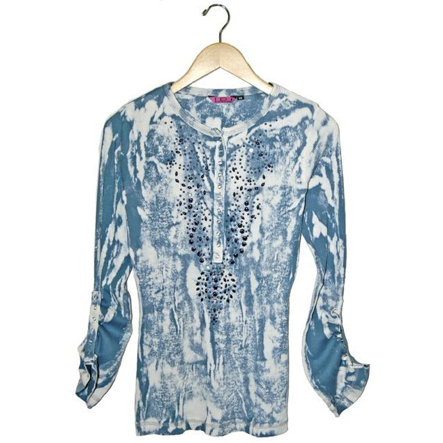 Women's Embellished Tie Dye Adjustable Sleeve Top #11200 - IDI Clothing - Where you can buy directly for the designer manufacturer-Made In USA :)
