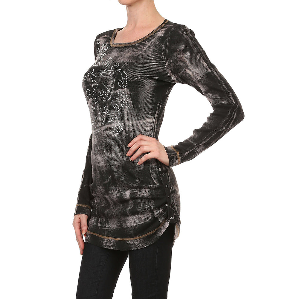Women's Printed V-neck 3/4 Sleeve Top #11201 - IDI Clothing - Where you can buy directly for the designer manufacturer-Made In USA :)