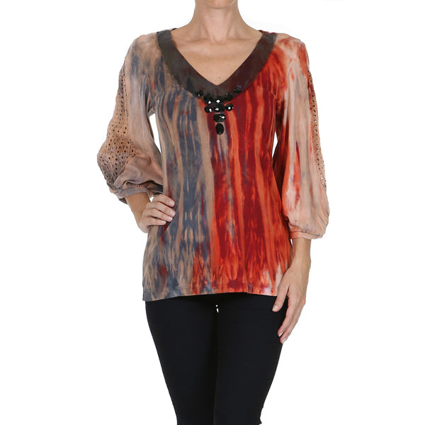 Women's 3/4 Sleeve Tricolor Jeweled V Neck Top #11236