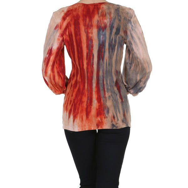 Women's 3/4 Sleeve Tricolor Jeweled V Neck Top #11236 - IDI Clothing - Where you can buy directly for the designer manufacturer-Made In USA :)