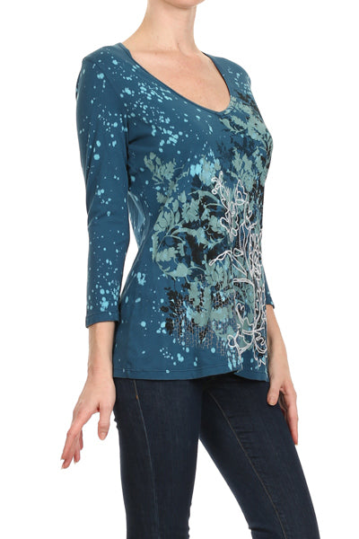 Women's 3/4 Sleeve Print Top #11239 - IDI Clothing - Where you can buy directly for the designer manufacturer-Made In USA :)