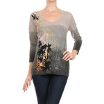 Women's Printed 3/4 Sleeve Top #11239 - IDI Clothing - Where you can buy directly for the designer manufacturer-Made In USA :)