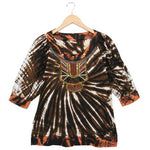 Women's 3/4 Sleeve Bohemian Jewel Design Tie Dye Top #11252