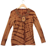 Women's Bohemian Tie Dye Beaded Neckline Long Sleeve Top #11287