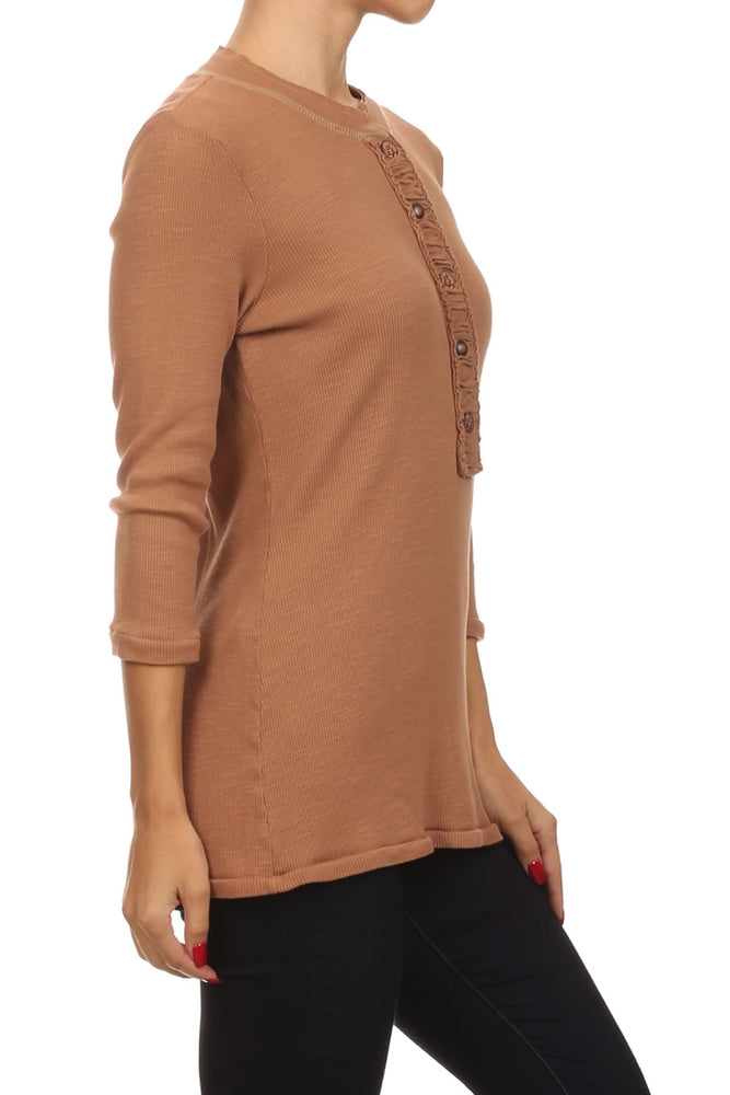 Women's 3/4 Sleeve Knit Top #11358 - IDI Clothing - Where you can buy directly for the designer manufacturer-Made In USA :)