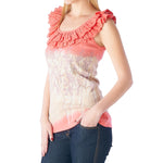 Women's Floral Screen Print Top Ruffle #11488 - IDI Clothing - Where you can buy directly for the designer manufacturer-Made In USA :)