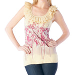 Women's Floral Screen Print Top #11488