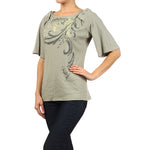 Women's Embroidered Print Bell Sleeve Top #11497 - IDI Clothing - Where you can buy directly for the designer manufacturer-Made In USA :)