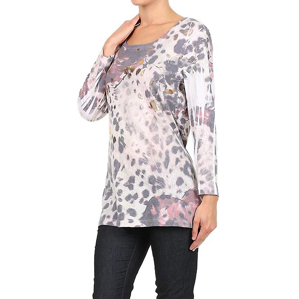 Women's Animal Print 3/4 Sleeve Top #11531 - IDI Clothing - Where you can buy directly for the designer manufacturer-Made In USA :)