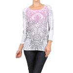 Women's Bohemian Print 3/4 Sleeve Top  #11531