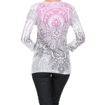 Women's Bohemian Print 3/4 Sleeve Top  #11531 - IDI Clothing - Where you can buy directly for the designer manufacturer-Made In USA :)