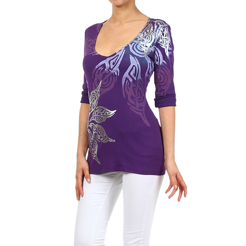 Women's Printed V-Neck Top #11606 Made In USA