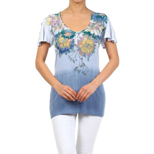 Printed Short Sleeve V-neck Top