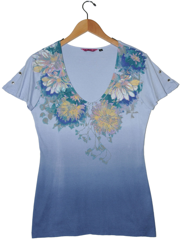 Women's Printed Short Sleeve V-neck Top #11615 Made In USA - IDI Clothing - Where you can buy directly for the designer manufacturer-Made In USA :)