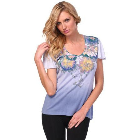 Women's Printed Short Sleeve V-neck Top #11615 Made In USA