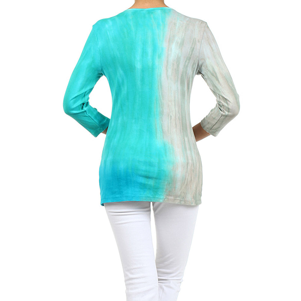 Women's Embellished Tie Dye V-Neck Knit Top #11616 Made In USA - IDI Clothing - Where you can buy directly for the designer manufacturer-Made In USA :)