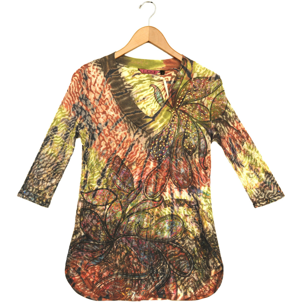 Women's Print Embellished 3/4 Sleeve V Neck Top #11663 - IDI Clothing - Where you can buy directly for the designer manufacturer-Made In USA :)