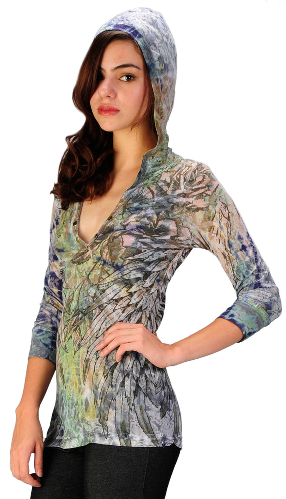 Women's Tie Dye 3/4 Sleeve V Neck Hoodie Top #11664 - IDI Clothing - Where you can buy directly for the designer manufacturer-Made In USA :)
