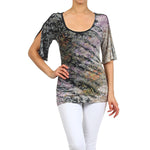 Women's Tie Dye Damask Print Bell Sleeve Top #11665