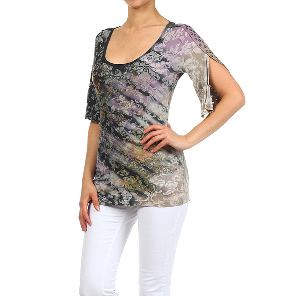 Women's Tie Dye Damask Print Bell Sleeve Top #11665 - IDI Clothing - Where you can buy directly for the designer manufacturer-Made In USA :)