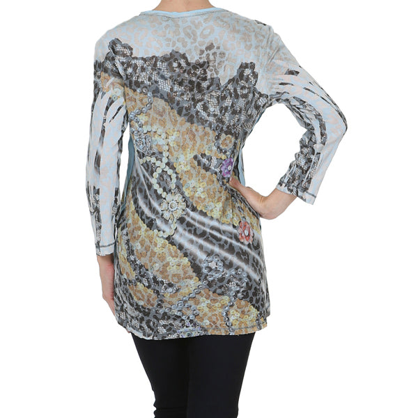 Women's Print Embellished V Neck 3/4 Sleeve Top #11667 - IDI Clothing - Where you can buy directly for the designer manufacturer-Made In USA :)