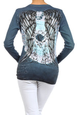 Women's Embellished Print Long Sleeve Top #11706 - IDI Clothing - Where you can buy directly for the designer manufacturer-Made In USA :)