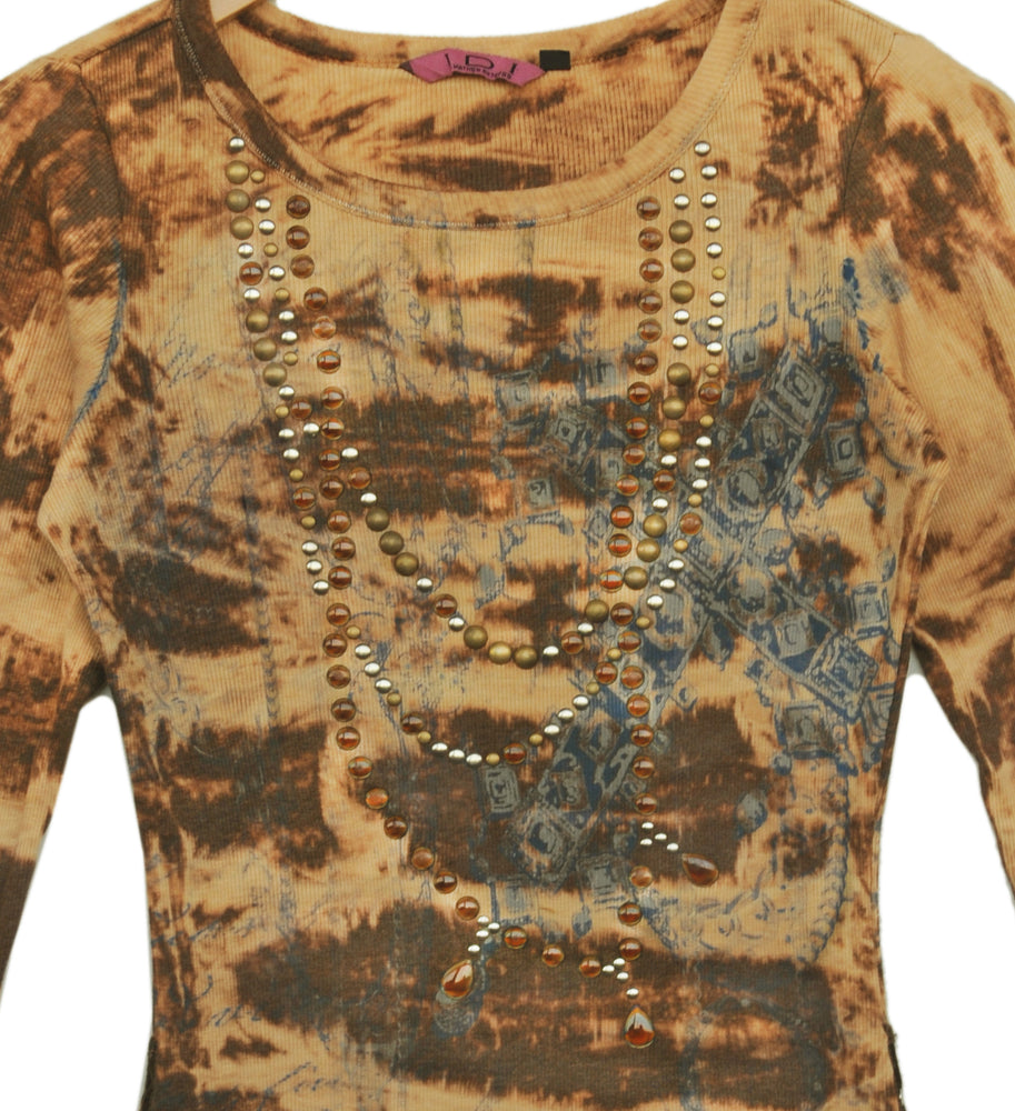 Women's Embellished Print 3/4 Sleeve Top #11707AEC Sand Chocolate Made In USA