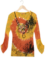 Women's Tie Dye Embellished Adjustable Sleeve knit Top  #11708CSB Amber Hay Stacks Made In USA