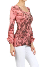 Women's Tie Dye Embellished Adjustable Sleeve Top #11708 - IDI Clothing - Where you can buy directly for the designer manufacturer-Made In USA :)