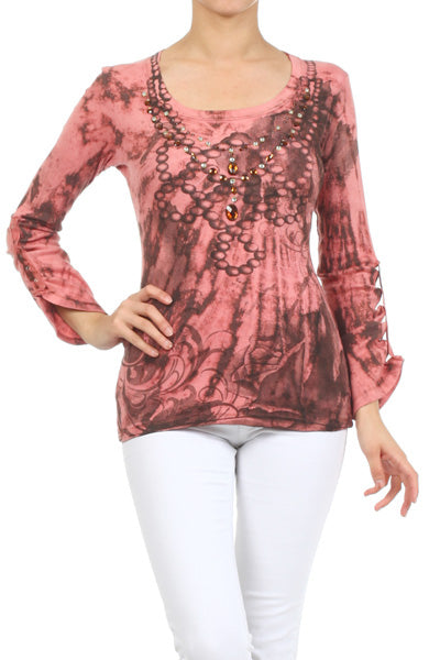 Women's Tie Dye Embellished Adjustable Sleeve knit Top  #11708CSB Pink Brown Made In USA