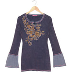 Women's Long Bell Sleeve Embroidered Top #11710