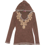Women's Embroidered V Neck Hoodie Top #11711
