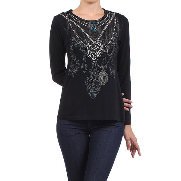 Women's Long Sleeve Vintage Print - Embellished detail #11755HJ Black Made In USA