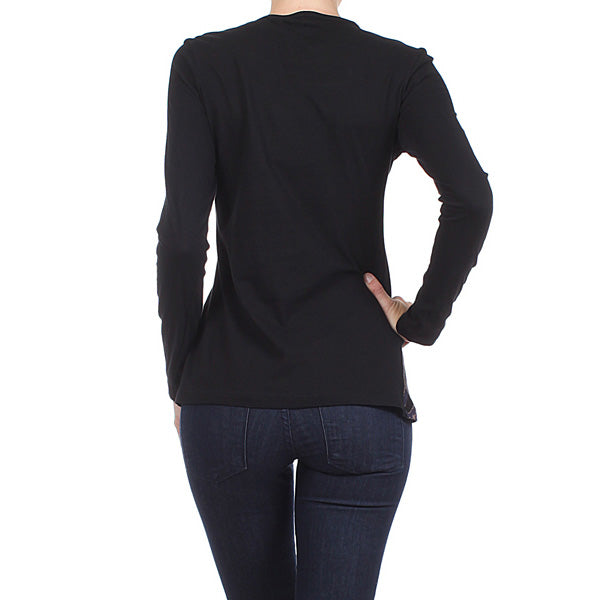 Women's Long Sleeve Vintage Print with Embellished Neckline #11755 - IDI Clothing - Where you can buy directly for the designer manufacturer-Made In USA :)