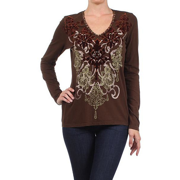 Women's Long Sleeve Vintage Print with Rhinestone # 11756 FOR Chocolate Brown Made In USA