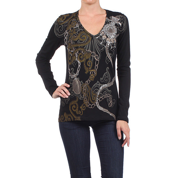 Women's Long Sleeve V Neck Vintage Print Top #11756 GFL Black Made In USA